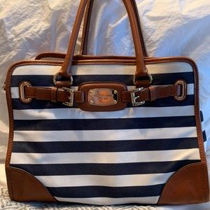 Michael Kors blue stripe Hamilton bag